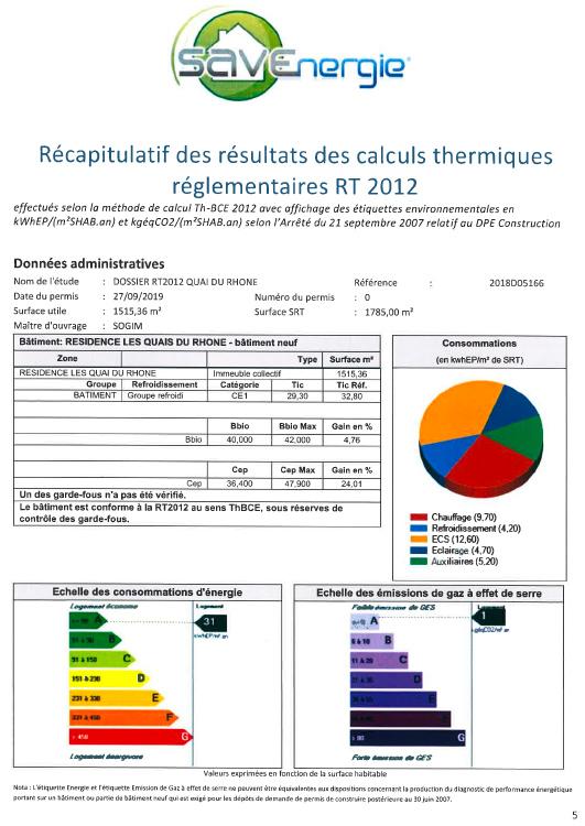 Visuel du rapport d'étude thermique pour la Résidence Les Quais du Rhône.